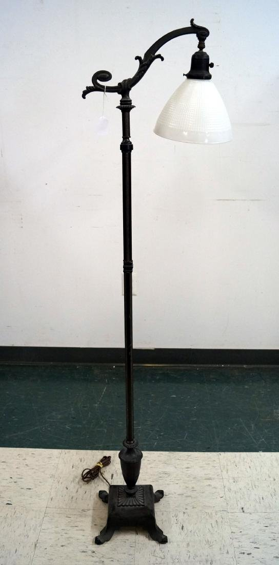"PATINATED IRON FLOOR LAMP. HEIGHT 58"""