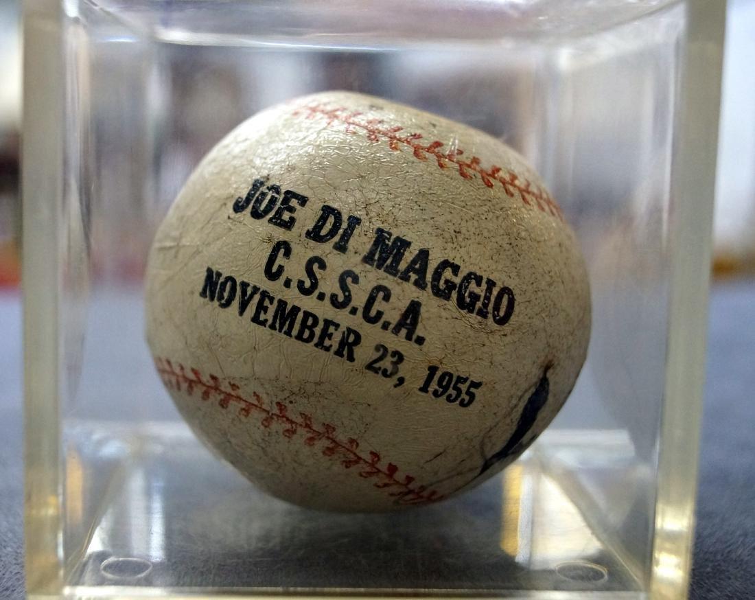 JOE DIMAGGIO SIGNED SOUVENIR RUBBER BASEBALL WITH COA