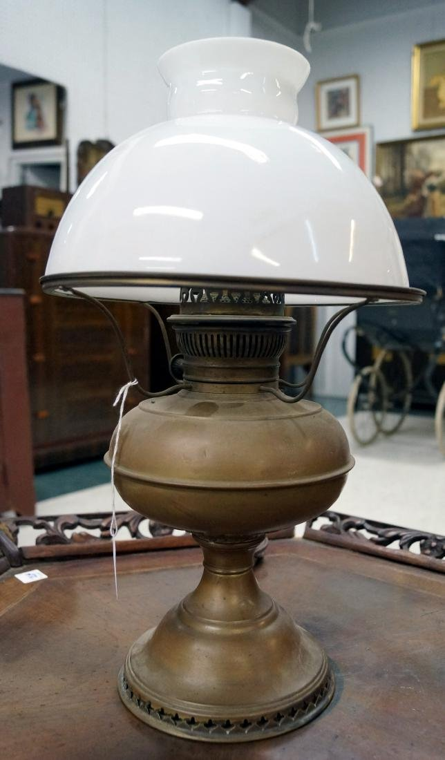 RAYO BRASS TABLE LAMP WITH MILK GLASS SHADE. HEIGHT 18""
