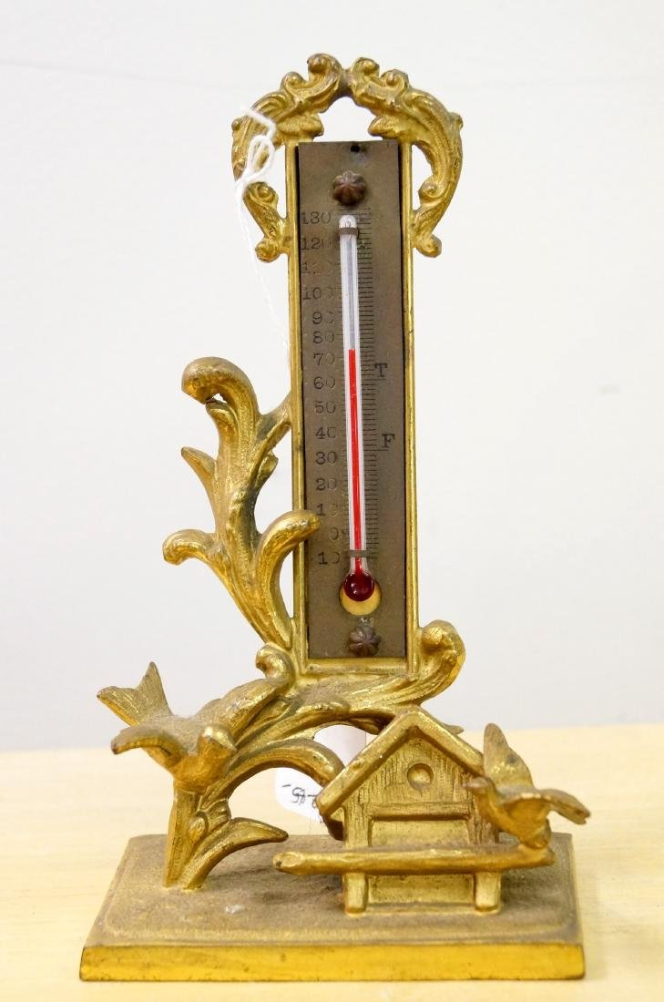 VICTORIAN GILT BRONZE FIGURAL THERMOMETER. HEIGHT 7""