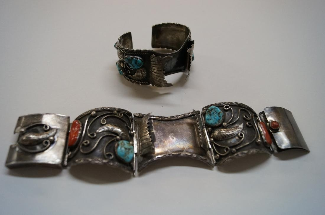 LOT (2) SOUTHWEST AMERICAN INDIAN SILVER WATCH CUFF