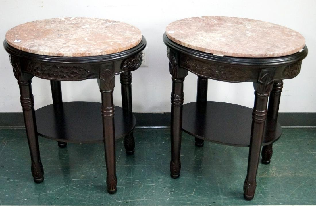 PAIR ANGLO INDIAN CARVED MAHOGANY SIDE TABLES WITH PINK