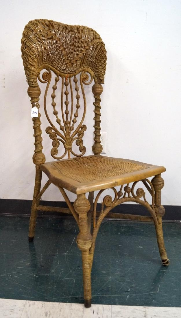 VICTORIAN NATURAL WICKER SIDE CHAIR