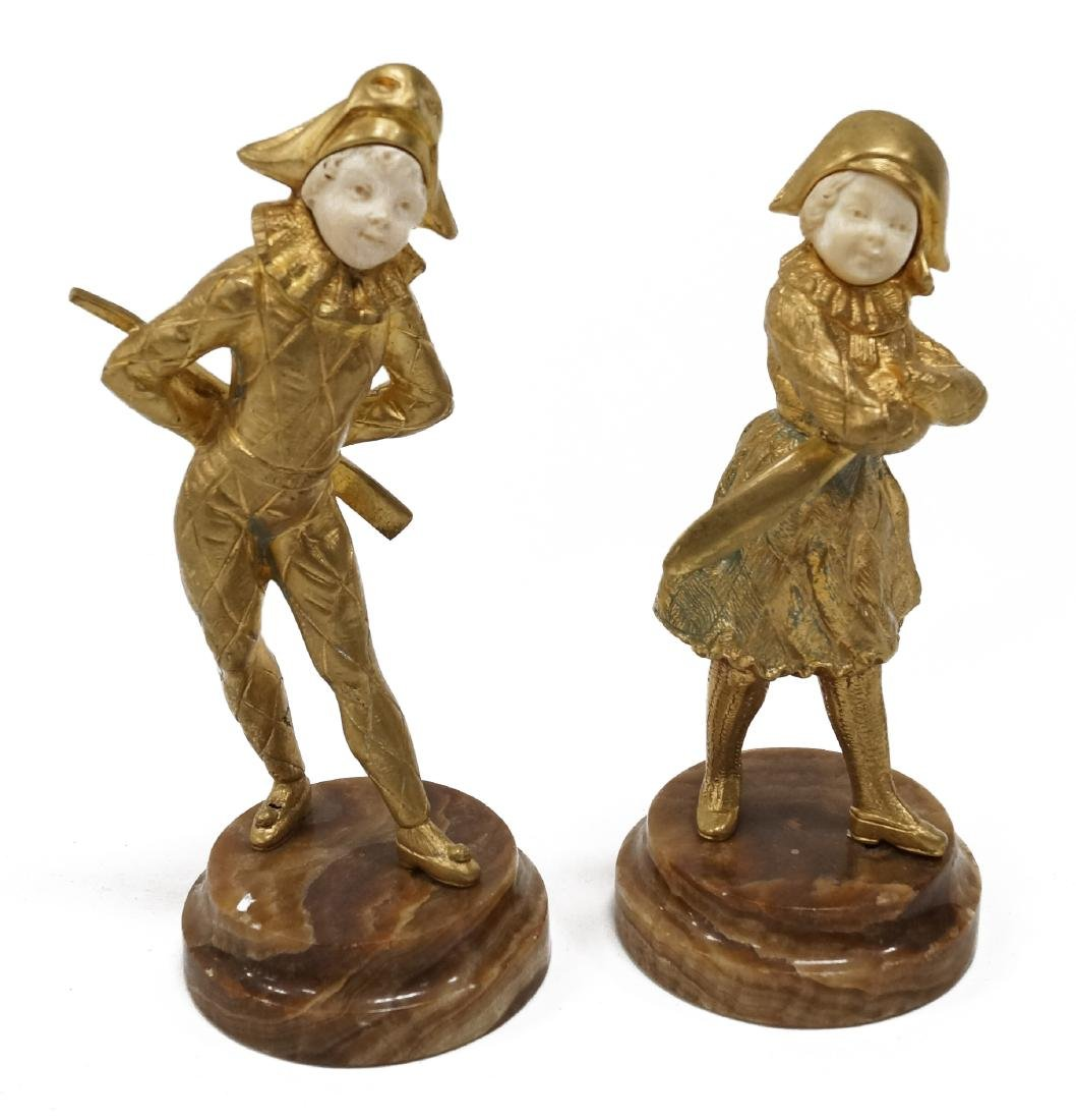 AFTER CHIPARUS, PAIR GILT BRONZE FIGURES OF CHILDREN