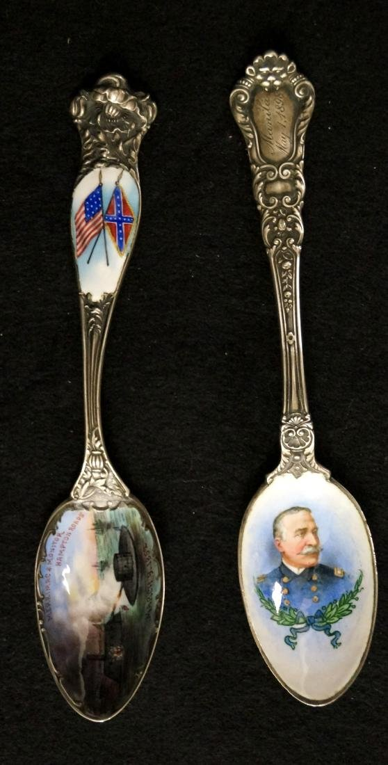 LOT (2) VICTORIAN STERLING ENAMELED TEASPOONS INCLUDING
