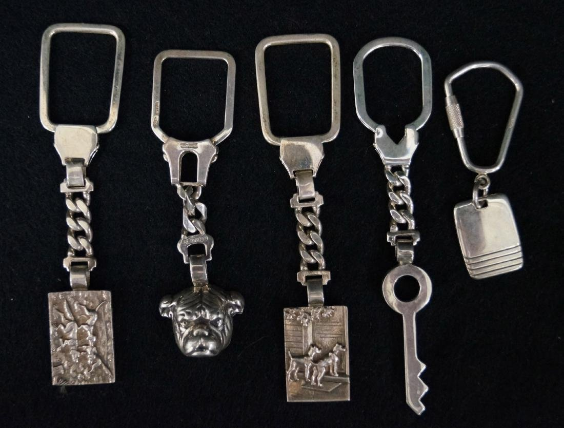 LOT (5) ITALIAN STERLING KEY CHAINS. LENGTH 2 1/4-4