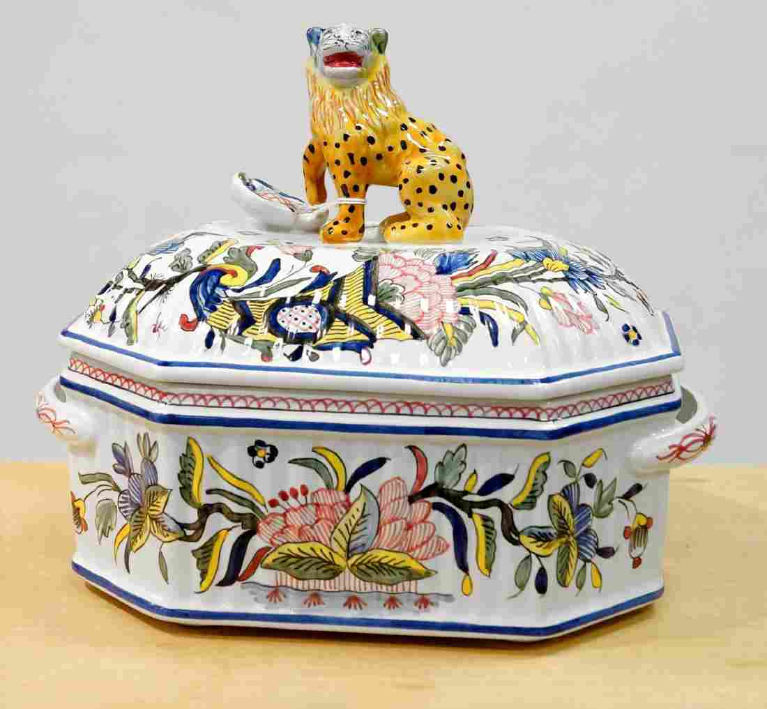 FRENCH DECORATED FAIENCE POTTERY COVERED GAME POT,