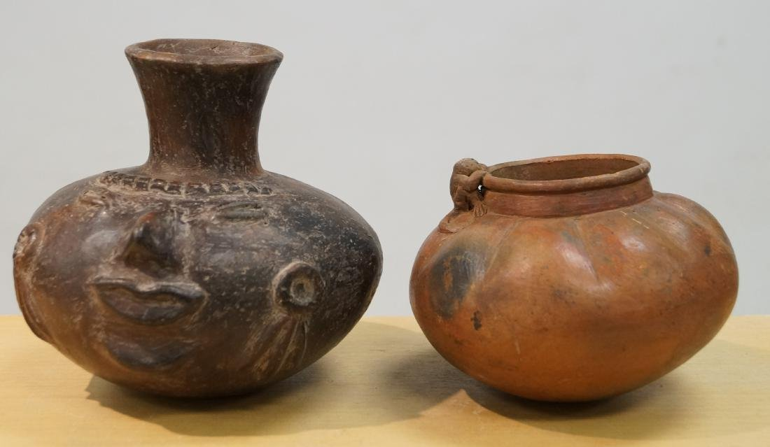 LOT (2) PRE-COLUMBIAN MESO-AMERICAN POTTERY VESSELS.