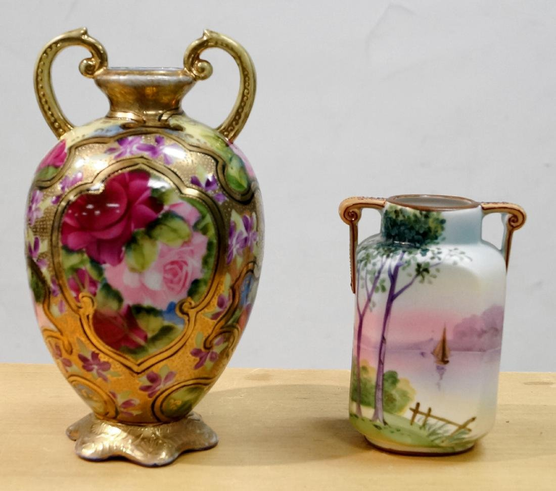 LOT (2) HAND PAINTED NIPPON DECORATED PORCELAIN VASES.