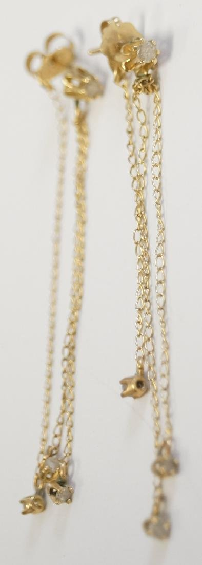 PAIR 14K YELLOW GOLD, DIAMOND AND DROP CHAIN PIERCED
