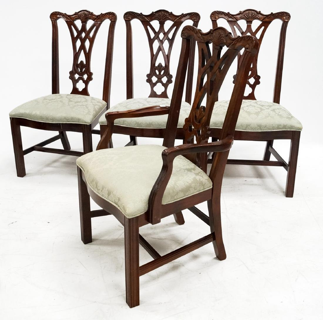 SET (8) THOMASVILLE CHIPPENDALE STYLE CARVED MAHOGANY