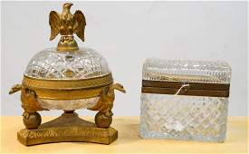 LOT (2) FRENCH EMPIRE STYLE INCLUDING GILT BRONZE AND