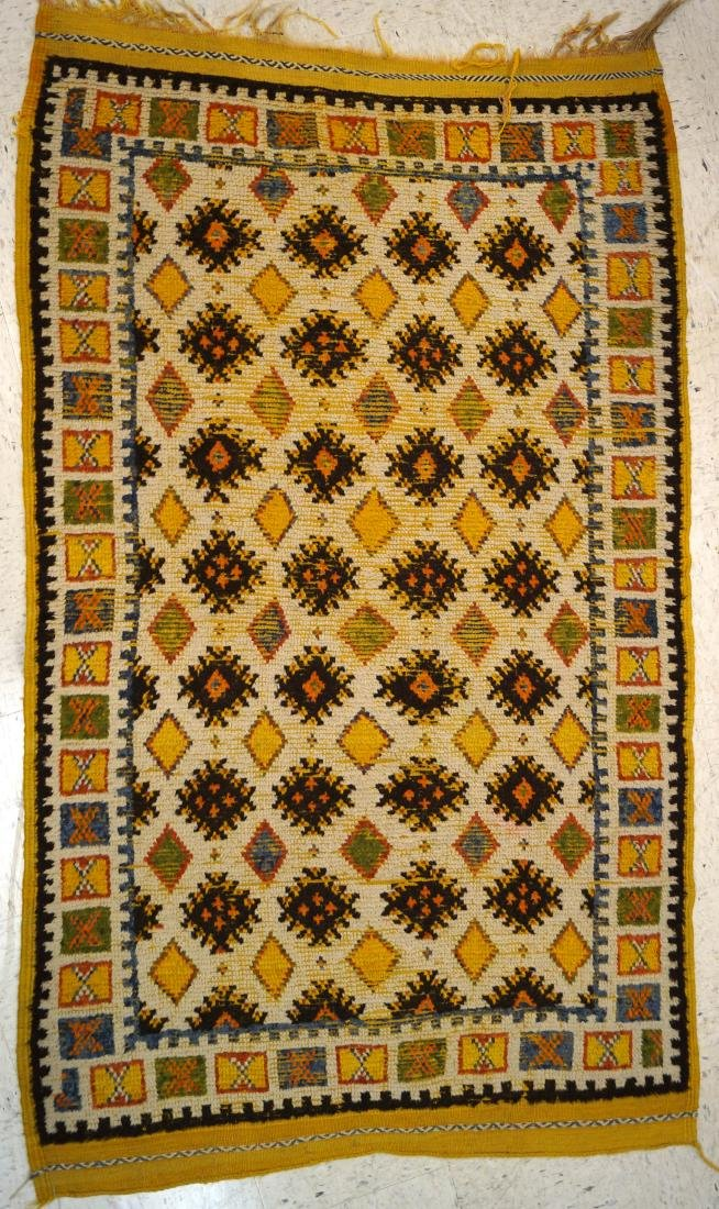 "SEMI-ANTIQUE MOROCCAN RUG. 3'7"" X 6'"