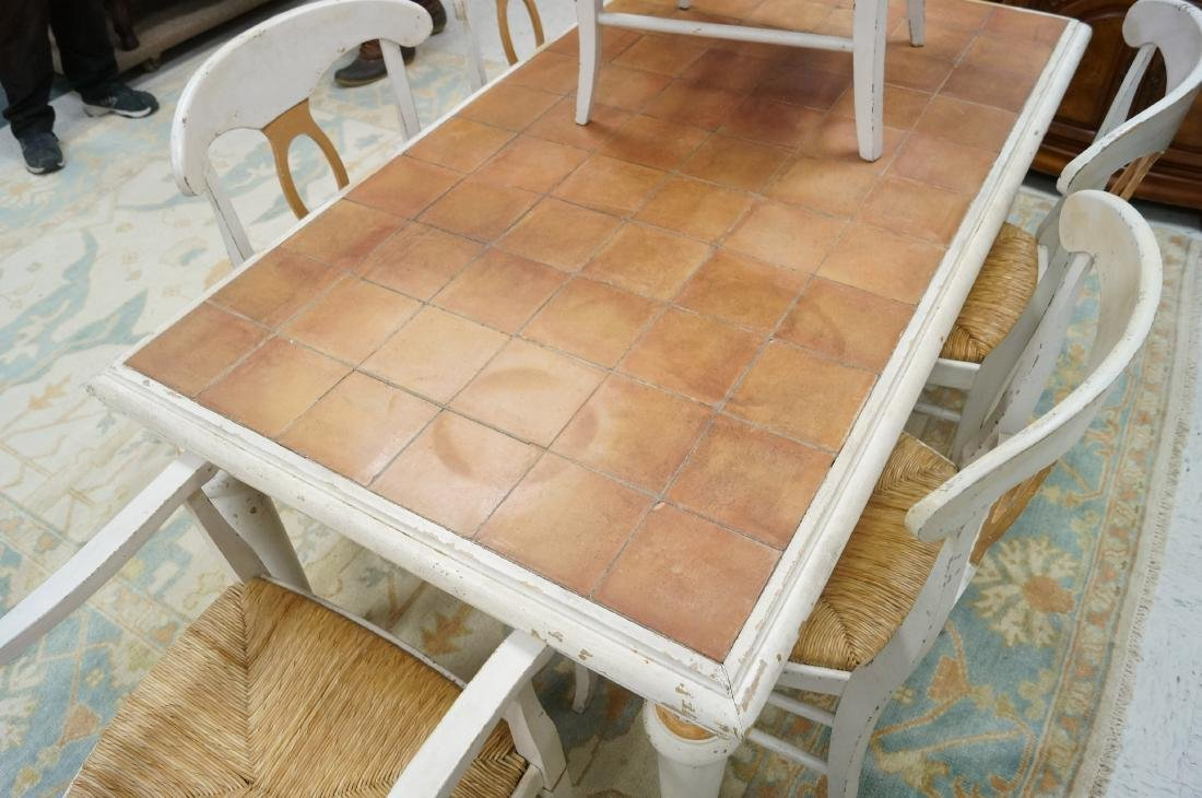 FRENCH COUNTRY PAINTED TILE-TOP FARM TABLE WITH (6) - 2