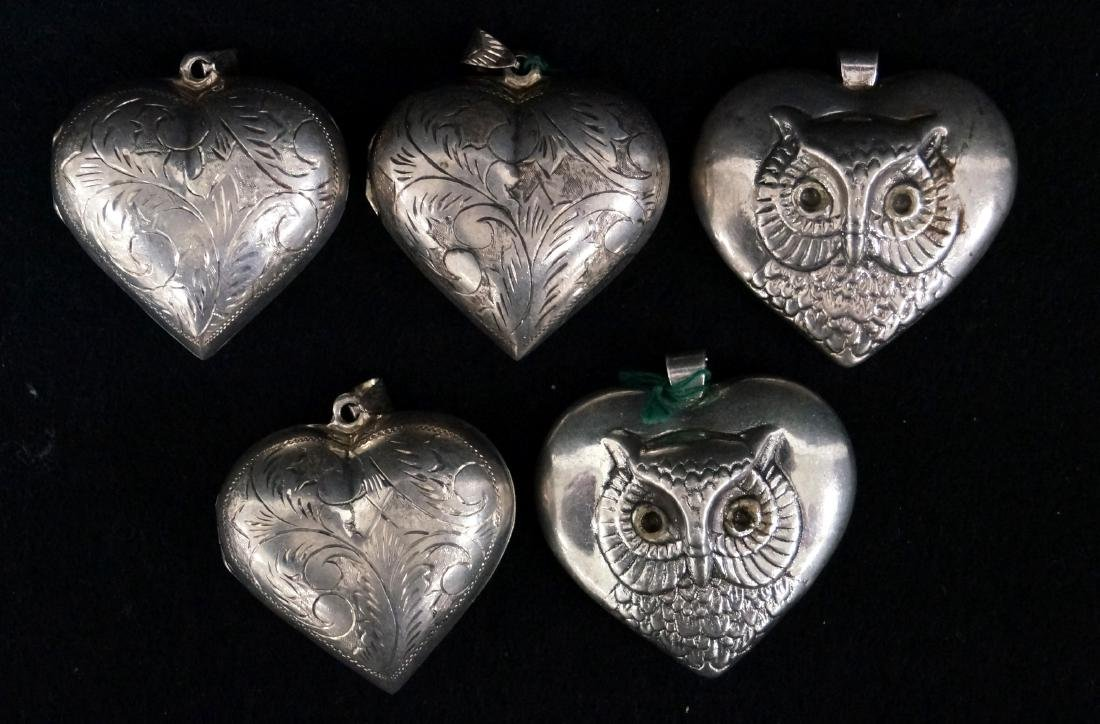 LOT (5) STERLING HEART LOCKETS AND OWL PENDANTS. HEIGHT