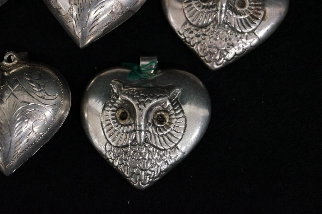 LOT (5) STERLING HEART LOCKETS AND OWL PENDANTS. HEIGHT - 2