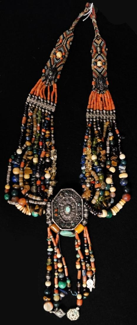 ETHNIC GEM SET MULTI-STRAND NECKLACE. LENGTH 23""