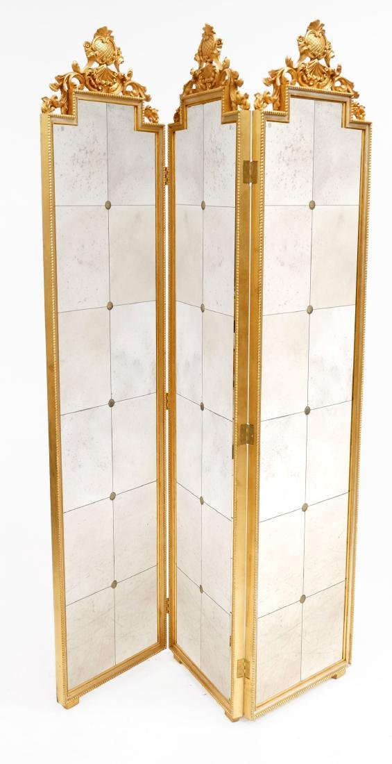 FRENCH NEO CLASSIC STYLE CARVED AND GILT MIRRORED
