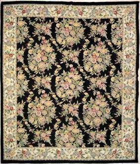 HAND HOOKED WOOL/COTTON CHAIN-STITCH CARPET, INDIA. 8 X