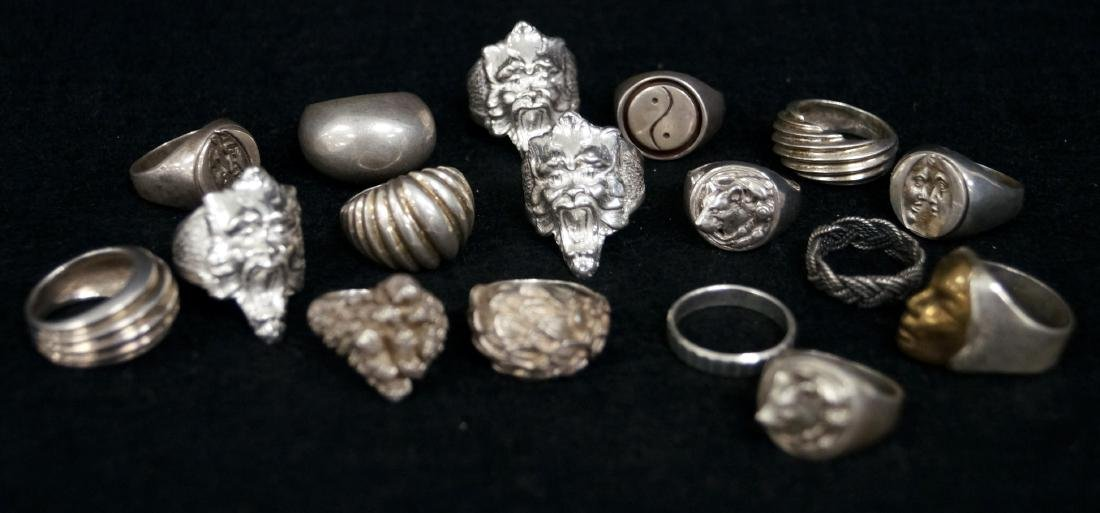 LOT (17) STERLING FASHION RINGS. RING SIZE 5 1/4-9 1/2;