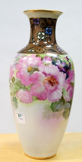 """NIPPON PORCELAIN HAND PAINTED VASE. HEIGHT 12 7/8"""""""