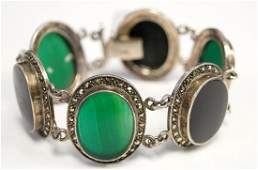 VINTAGE 925 STERLING MARCASITE ONYX AND CHRYSOPRASE