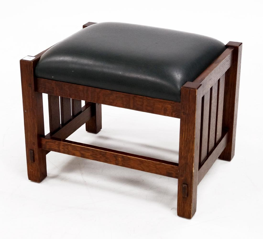 STICKLEY ARTS AND CRAFTS OAK GREEN LEATHER FOOT STOOL,