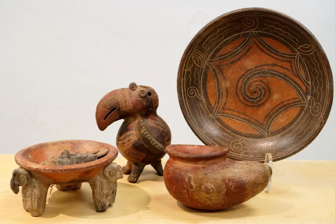 LOT (7) PRE-COLUMBIAN, MESO-AMERICAN DECORATED POTTERY