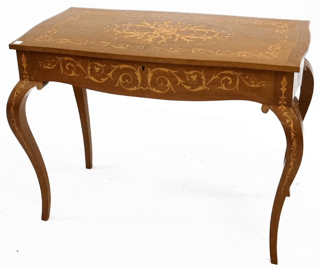 ITALIAN CARVED AND INLAID LIFT-TOP DRESSING TABLE.