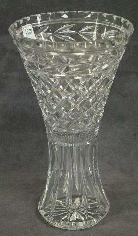 WATERFORD CRYSTAL LISMORE PATTERN VASE, SIGNED. HEIGHT