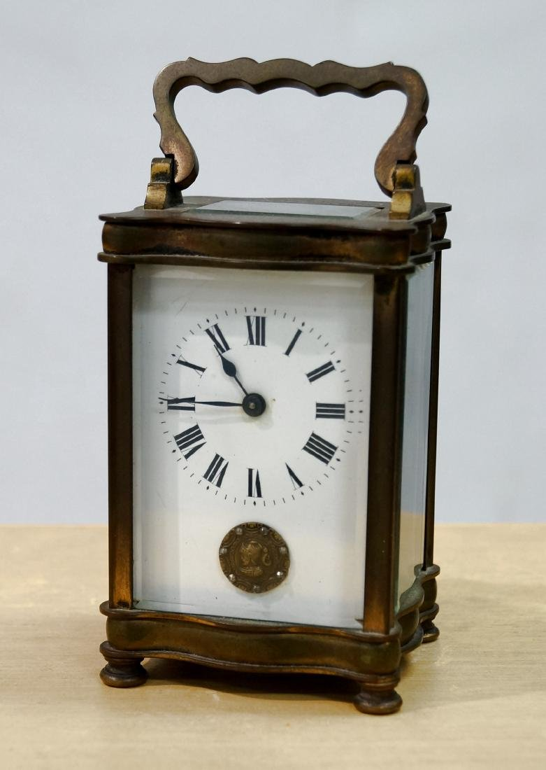FRENCH BRASS KEY-WIND CARRIAGE CLOCK. HEIGHT 6""