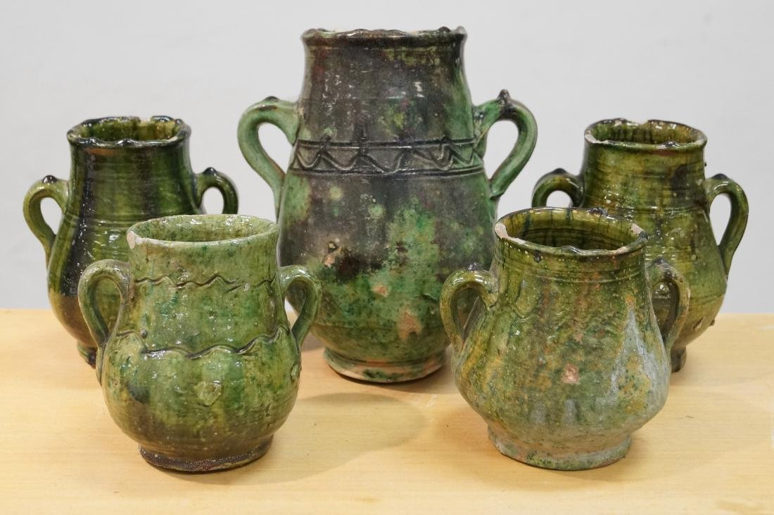 LOT (5) FRENCH FAIENCE GLAZE MAJOLICA GREASE POTS.