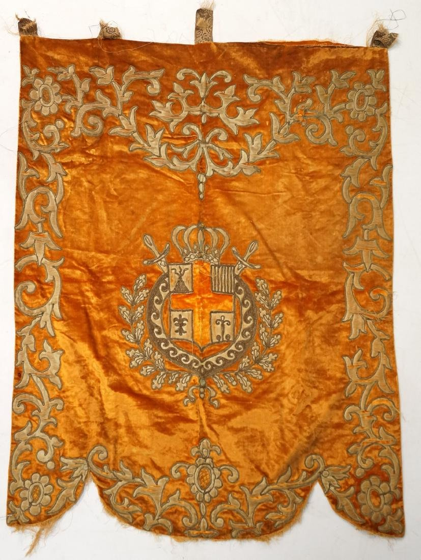 CONTINENTAL METALLIC THREAD EMBROIDERED ARMORIAL PANEL,