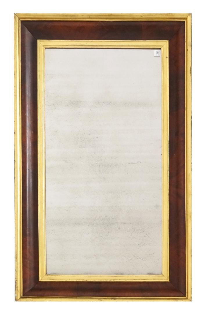 EMPIRE MAHOGANY PARCLE GILT OGEE FRAMED MIRROR, 19TH