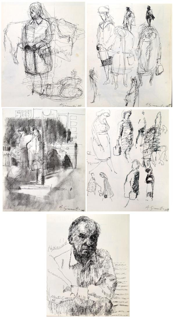 SWISS SCHOOL (20TH CENTURY), LOT (5) SHEETS PEN AND INK
