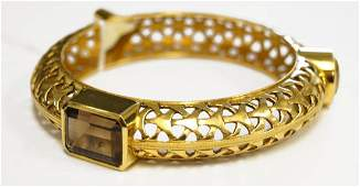 YELLOW GOLD (TESTS 18K) RETICULATED BANGLE BRACELET