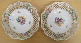 PAIR HEREND HAND DECORATED PORCELAIN RETICULATED