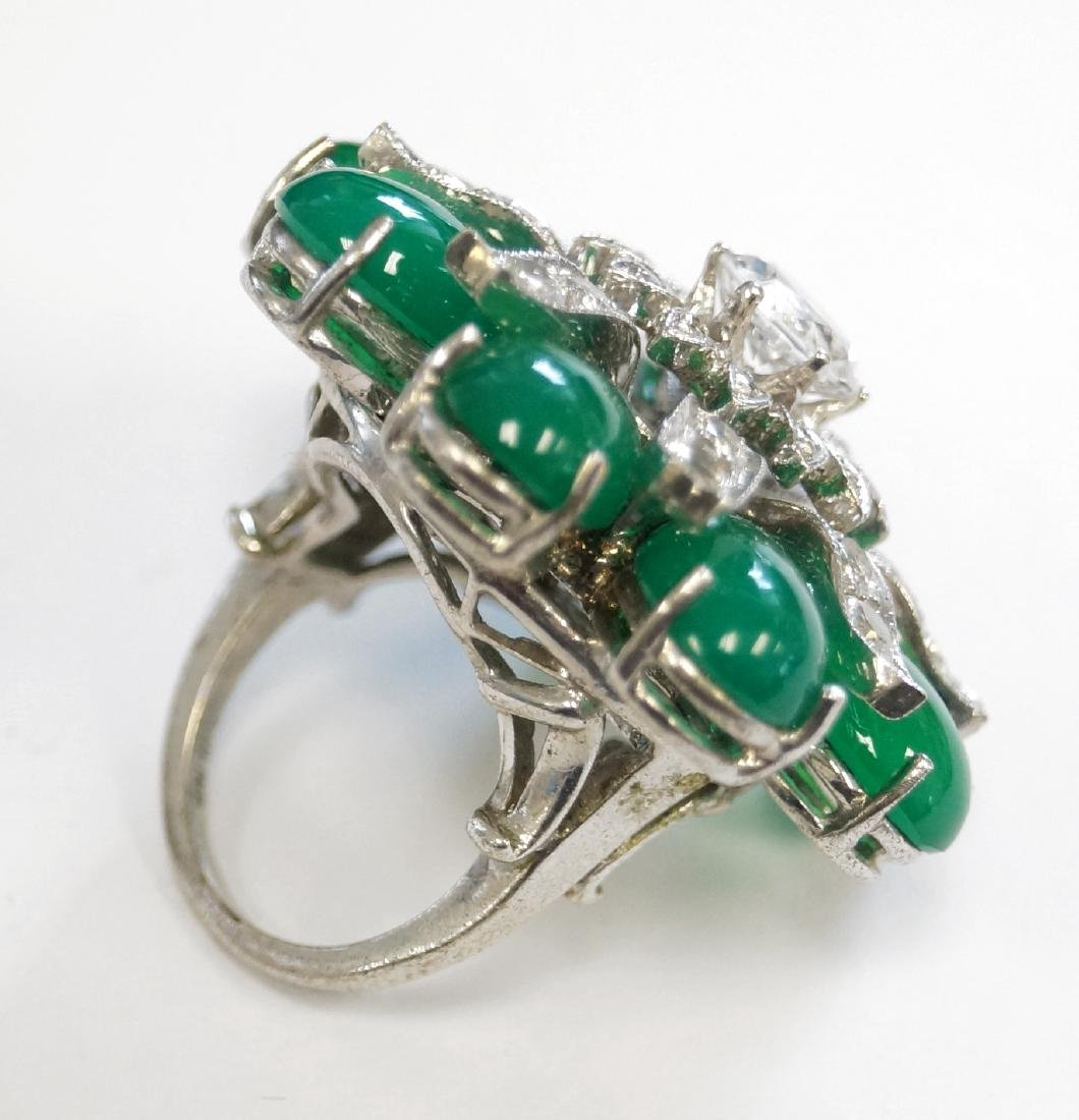 STERLING CZ SYNTHETIC AND DYED GREEN QUARTZ COCKTAIL - 2