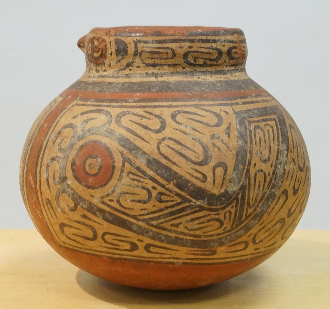 PRE-COLUMBIAN MESO-AMERICAN DECORATED POTTERY BIRD HEAD