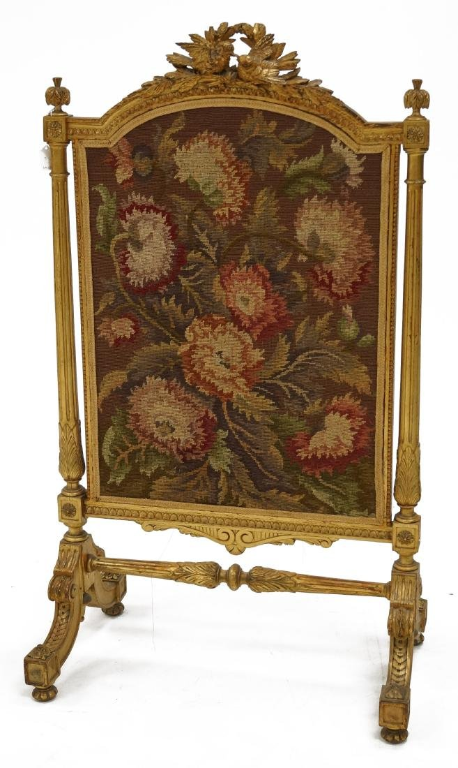 LOUIS XV STYLE CARVED AND GILT NEEDLEPOINT FIREPLACE