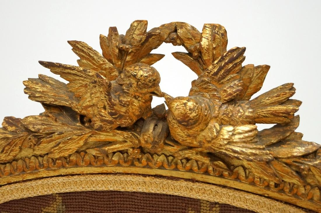 LOUIS XV STYLE CARVED AND GILT NEEDLEPOINT FIREPLACE - 2