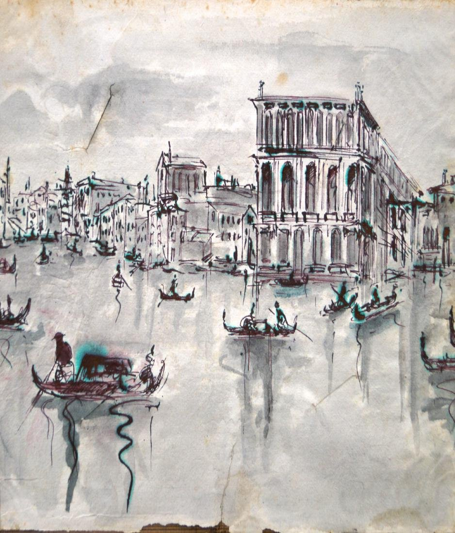 VENETIAN SCHOOL (20TH CENTURY), INK AND WASH ON PAPER,