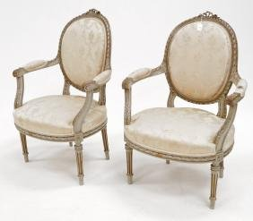 PAIR FRENCH CARVED AND PAINTED FRUITWOOD ARMCHAIRS