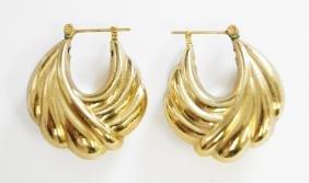 PAIR 14K YELLOW GOLD PIERCED HOOP EARRINGS. LENGTH 1
