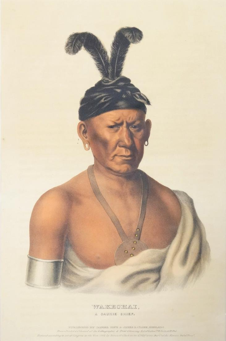 "WAKECHAI-A SAUKIE CHIEF"", HAND COLORED LITHOGRAPH FROM"