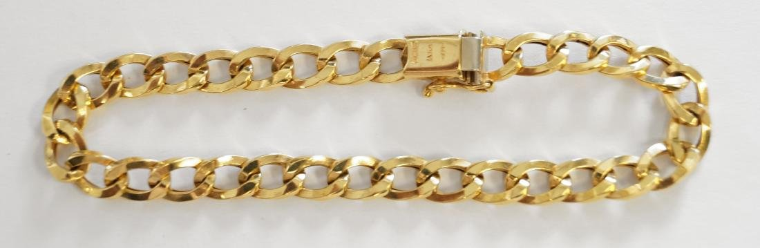 ITALIAN 14K YELLOW GOLD CHAIN LINK BRACELET. LENGTH 7