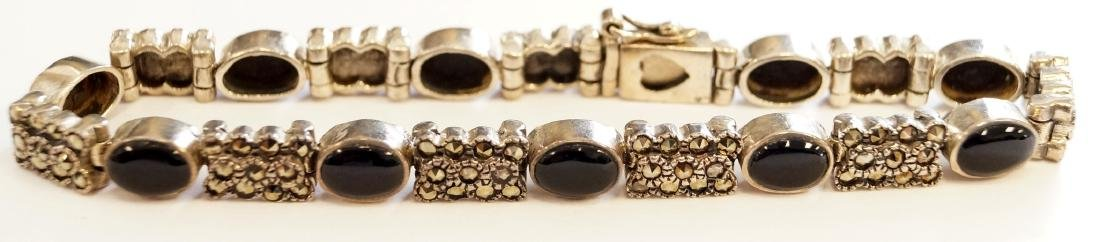 925 STERLING, ONYX AND MARCASITE BRACELET. LENGTH 7