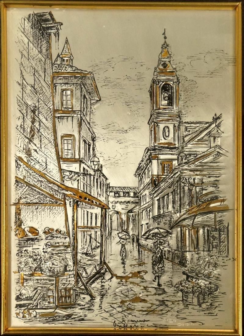 ITALIAN SCHOOL (20TH CENTURY), MIXED MEDIA INK AND GILT
