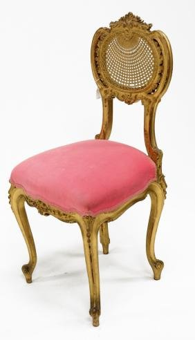 ROCOCO STYLE CARVED AND GILT BOUDOIR CHAIR