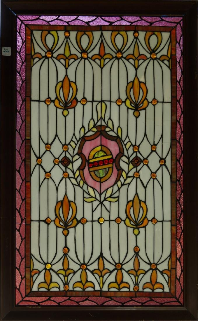 """LEADED GLASS PANEL WITH WOOD FRAME. 37 X 33"""""""